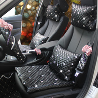 Luxury Diamond PU Leather Pillows Auto interior Heardrest Neck Waist Hold Pillows For Girl Women Ladies