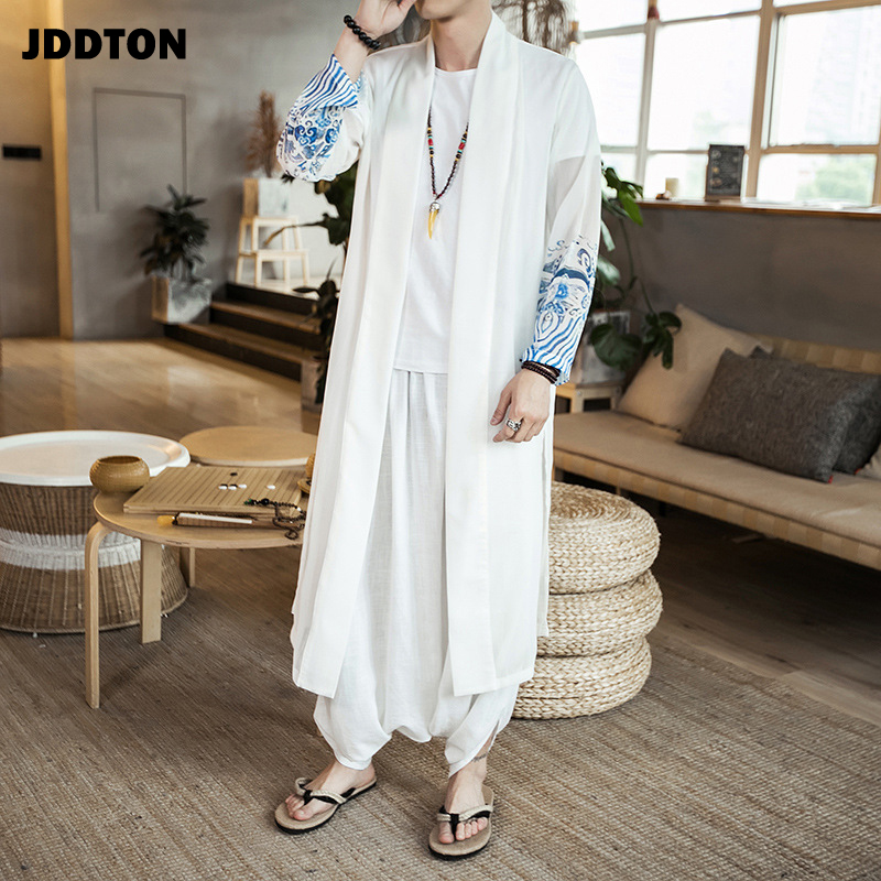 JDDTON Men's Chiffon Windbreaker Kimono Vintage Long Length Jackets Chinese Style Loose Sunscreen Male National Streetwear JE169