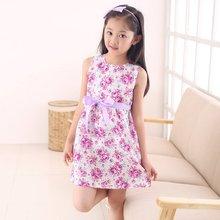 цена на 3-13 Year Baby Girls Sleeveless Flower Print Dresses Clothes Kids Summer Princess Dress Children Party Ball Pageant Dress Outfit