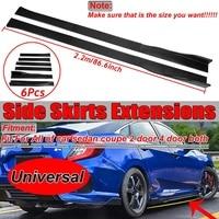 Universal 2.2m Carbon Fiber Look Car Side Skirt Extensions Splitters Lip For Hionda For Mazda For Benz Side Skirt Winglet Lip