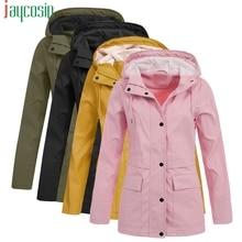 Women Long Waterproof Jacket Hooded Loose Large Pocket Long Sleeve Ladies Tops P