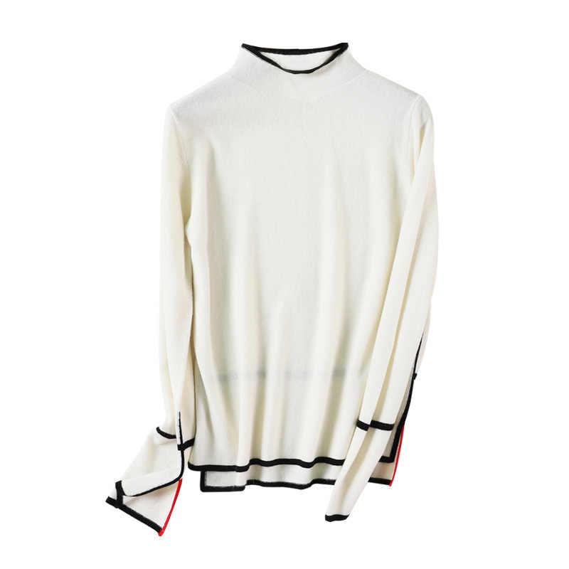 2019 herfst en winter nieuwe half-hoge kraag trui vrouwen 100% Merino wol kleur bijpassende lange mouwen gebreide dieptepunt shirt