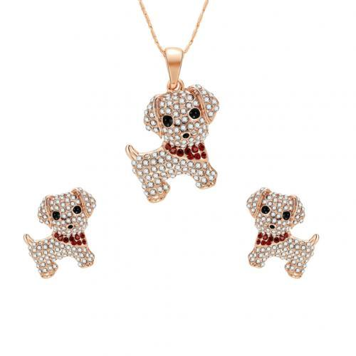 Women Rhinestones Dog Stud...