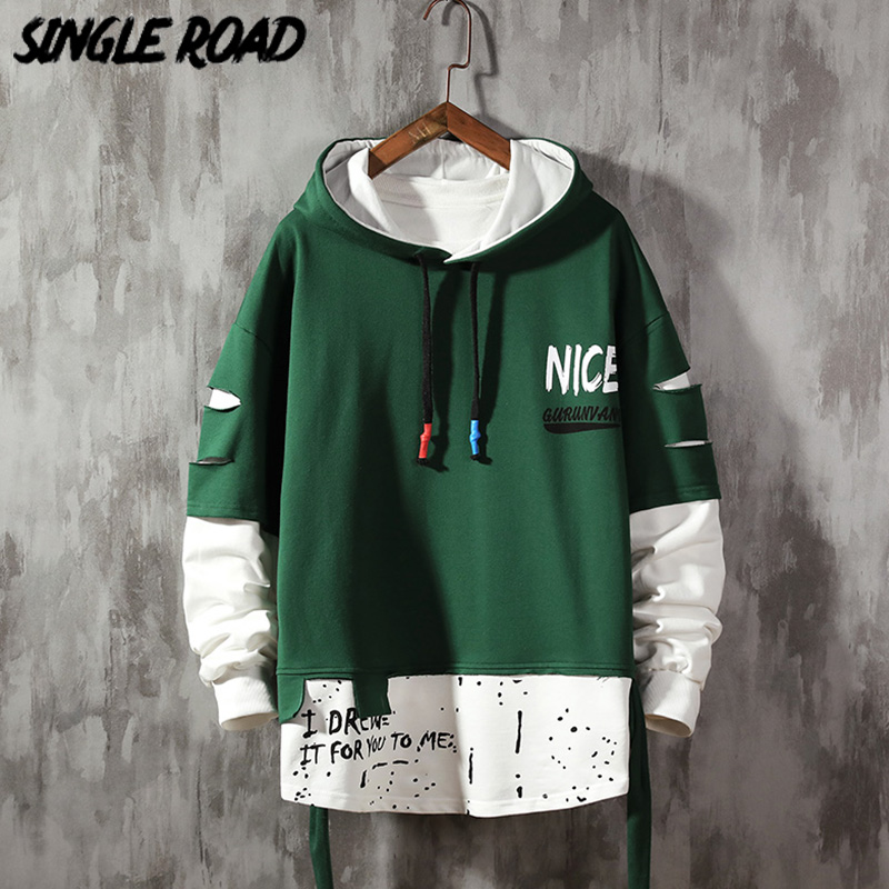 SingleRoad Mens Hoodies Men 2020 Green Graffiti Patchwork Oversized Hip Hop Japanese Streetwear Harajuku Hoodie Men Sweatshirt