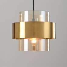 Nordic glass hanging lamp restaurant coffee bar industrial lighting fixture gold wrought iron glass shade creative pendant light