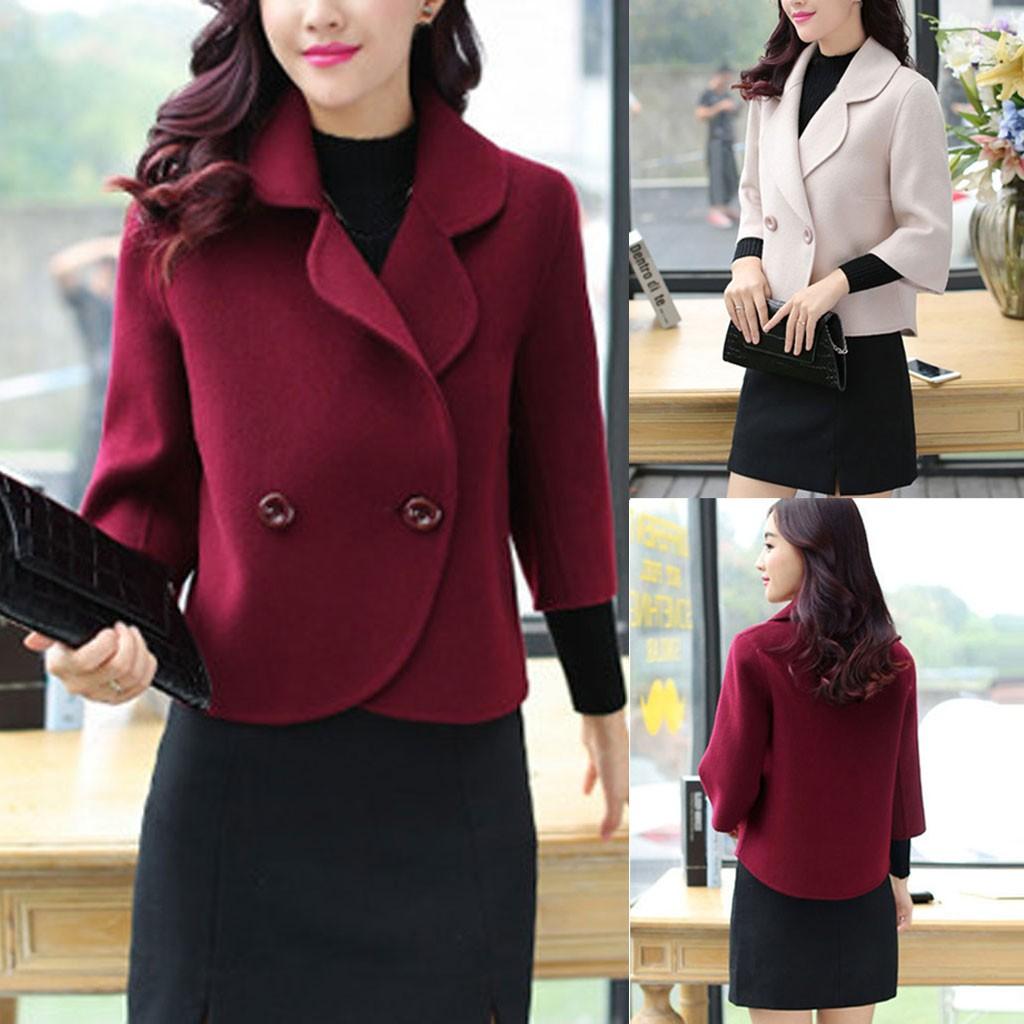 CHAMSGEND Coats Women Professional Coat Fashion Slim Wool Short Jacket Winter Woolen Suit Coat Jackets Outerwear & Coats 19Oct05