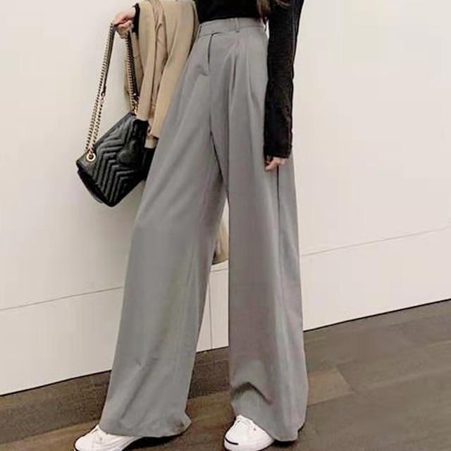 2021 Retro de Color sólido salvaje recto ancho pierna Pantalones mujer primavera nueva moda Coreana de cintura alta pantalones largos 6