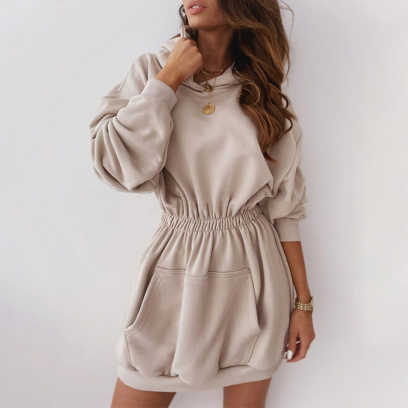 Autumn Fleece Female Sweatshirts Dress Warm Women's Hoodies Elastic Waist Hooded Long Sleeve 2020 New Casual Ladies Sweatshirt 1