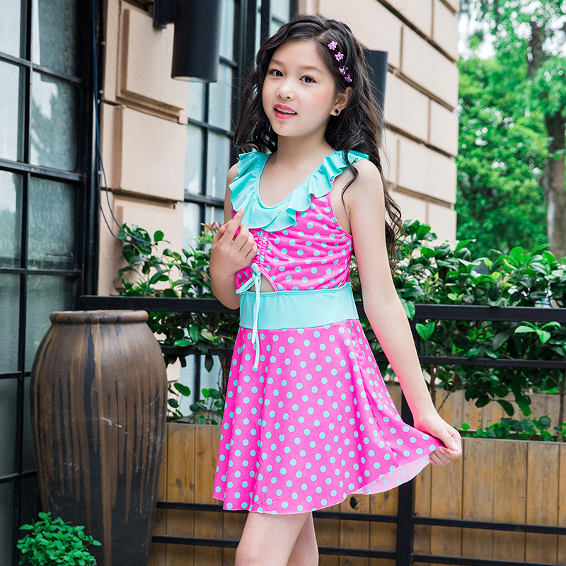 New Style Bathing Suit Korean-style KID'S Swimwear Wave Accounted For GIRL'S One-piece Swimming Suit Cute Big Kid Princess Dress