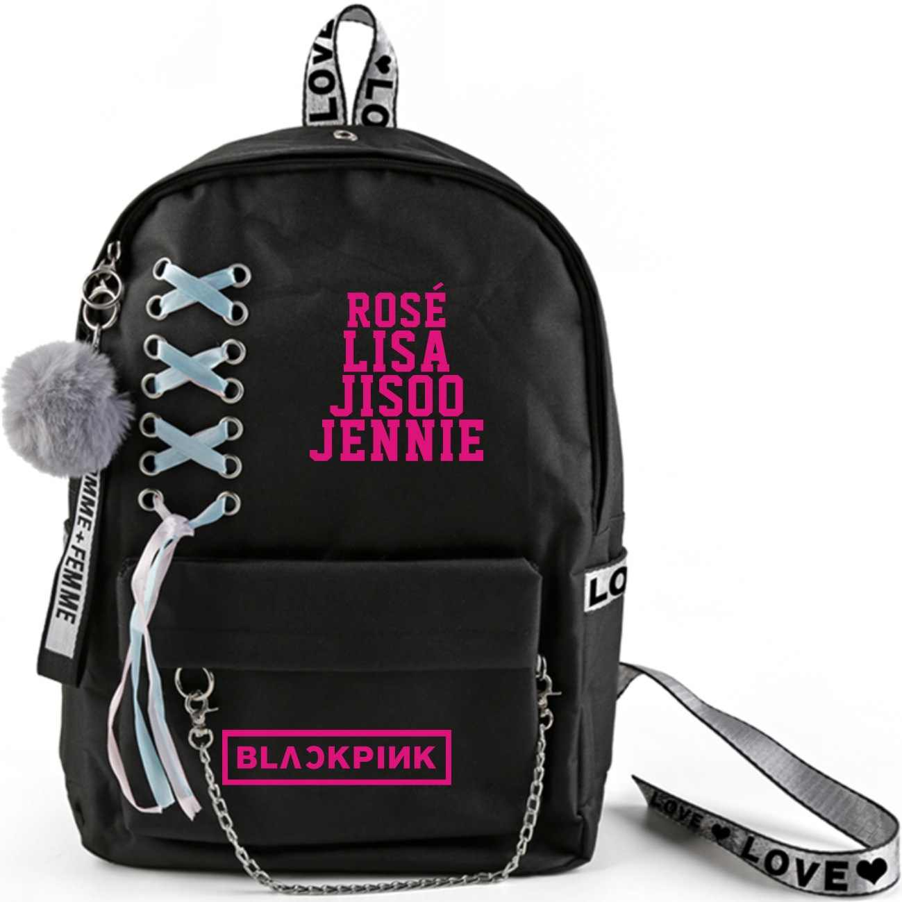 KPOP BLACKPINK LISA JENNIE ROSE JISOO backpack double shoulder schoolbag computer travel bag high capacity bag school students