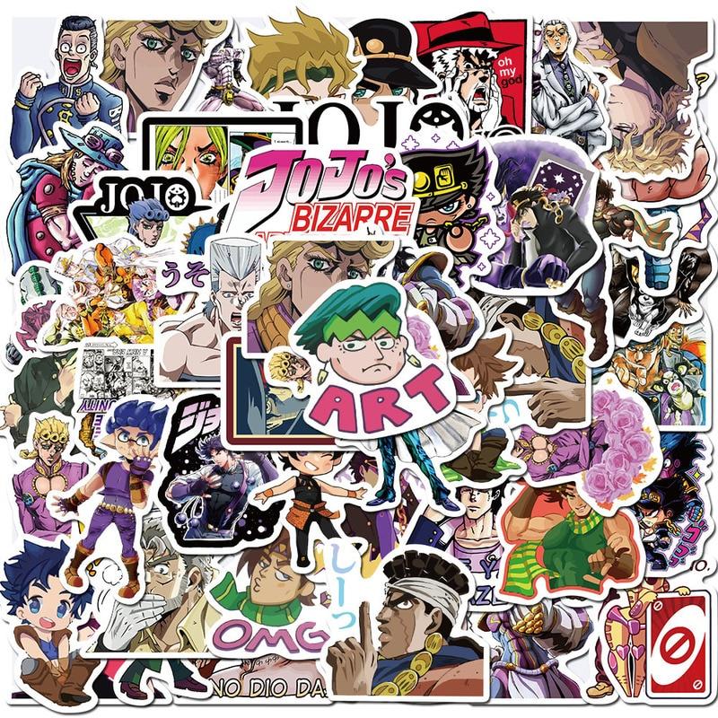 50pcs/set Anime Jojo Bizarre Adventure Waterproof Sticker Cosplay Accessories Prop