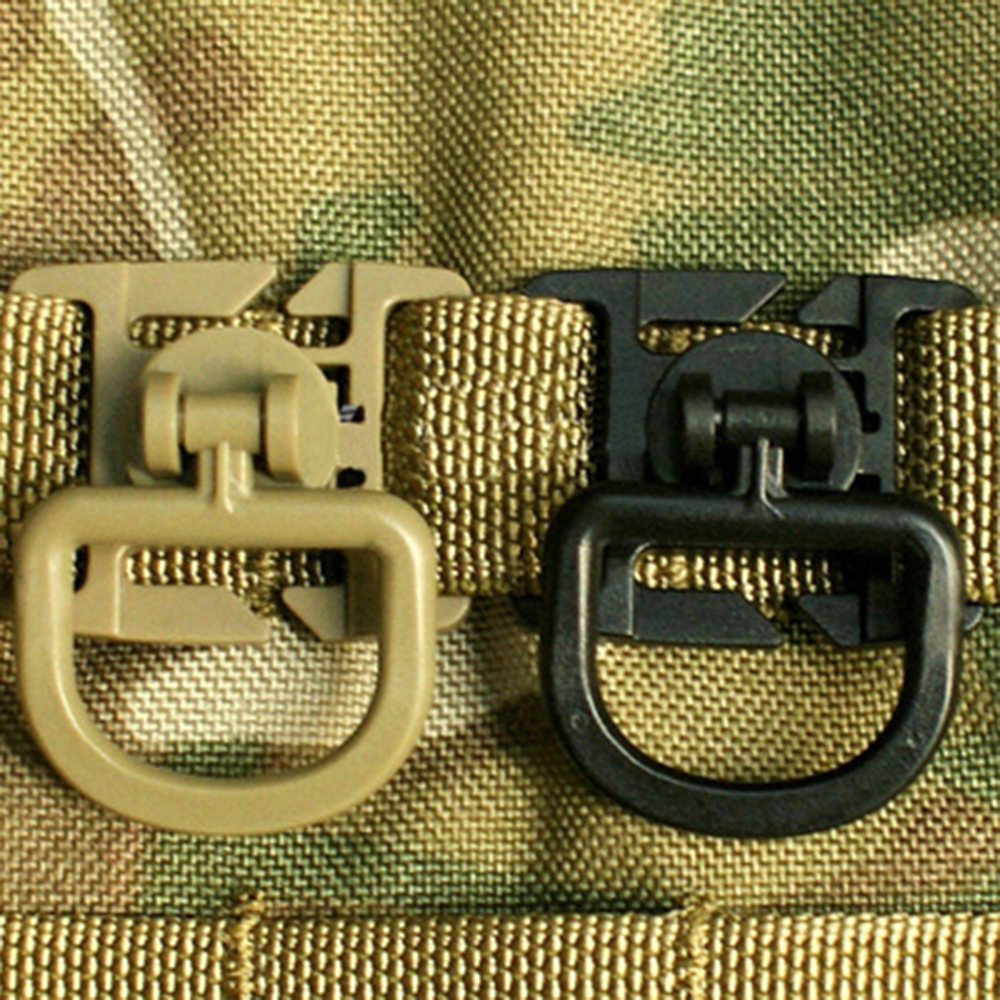 Tactical D-ring Clips Buckle 360 Rotation Molle Webbing Attachment Belt Backpack Shackle Carabiner Hunting Climbing Accessories