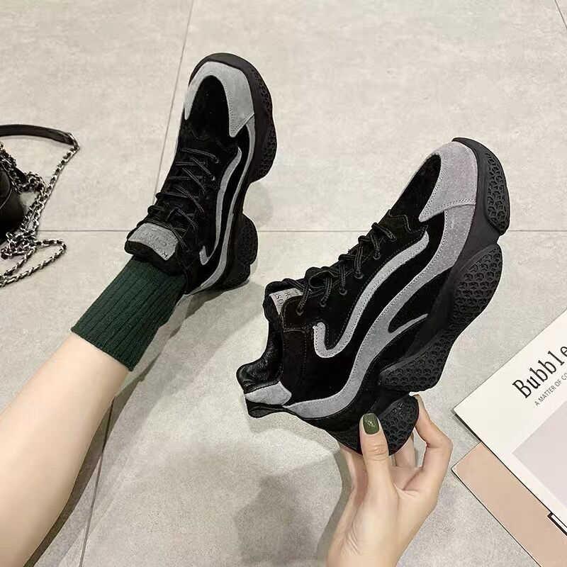 Frauen High Top Schuhe 2019 Winter Mode Weibliche Schwarz Flock Korb Halten Warme Marke Casual Schuhe Frau Plattform Chunky Turnschuhe