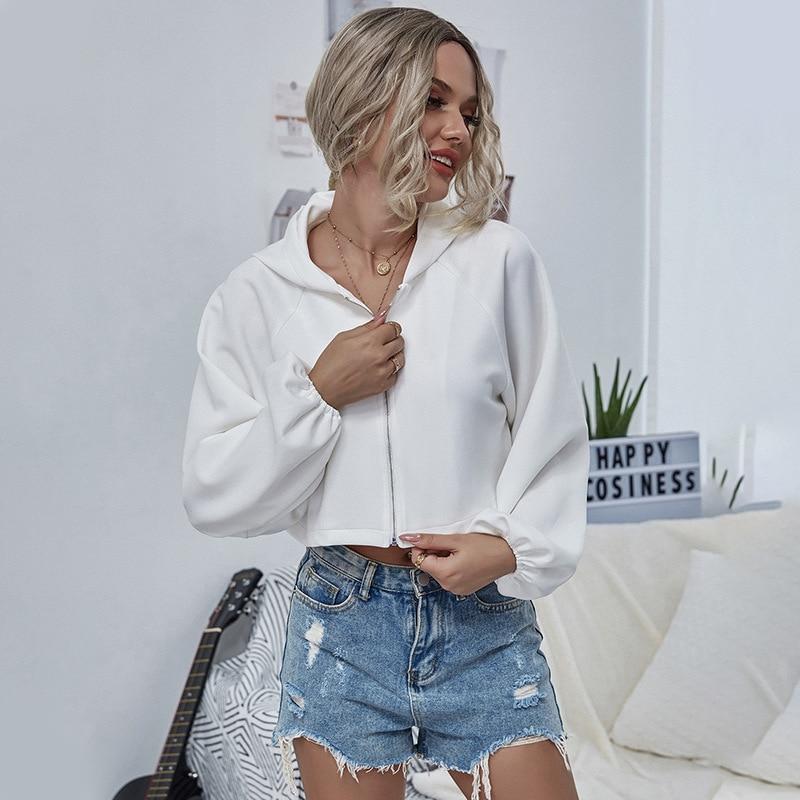 2020 New Fashion Short Zipper Autumn Winter Hoodies Women Casual Zip-Up Hoodies Sweatshirts Ladies Hooded Jacket 1