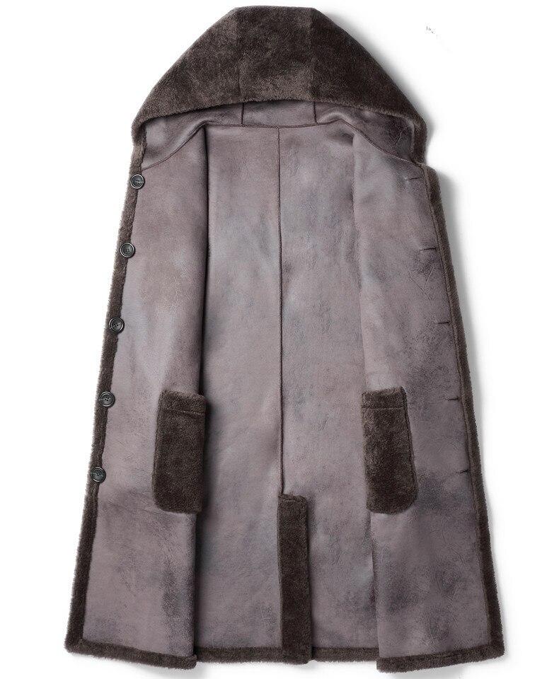 100% Wool Coat Winter Men Real Sheep Shearling Fur Long Coats Double-side Wear Suede Jacket Chaqueta LSY022321 MY1603