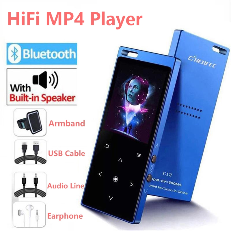 Bluetooth4.2 MP4 Player with Speaker 1.8 inch Screen Touch Button MP4 Video Player Support FM, Recorder, SD/TF Card Up to 128GB image