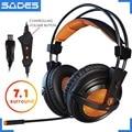 SADES A6 ПК Проводные игровые наушники гарнитуры геймера 7,1 объемное звучание музыки стерео наушники микрофон светодиодный дыхательный светил...