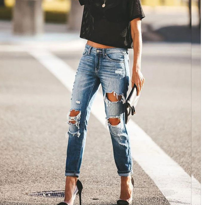 Spring And Summer Retro Ripped Jeans Pants Women's Fashion Loose Mid Waist Ladies Blue Ripped Jeans For Women Plus Size
