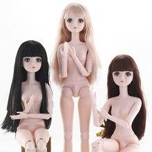 Novo 60 cm 1/3 bjd boneca 22 articulação móvel em pó muscular 4d simulação cílios longos cabelo moda bela maquiagem menina presente brinquedos