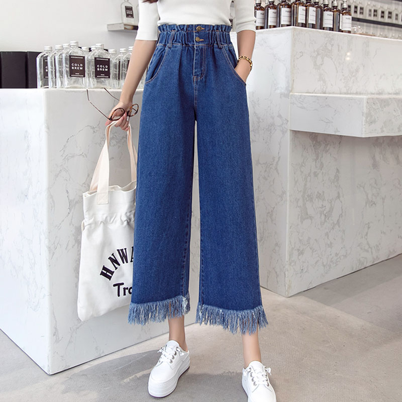 Vintage Jeans Leg-Pants Tassel Waist Ruffles Wide High-Elastic Plus-Size Korean Denim title=