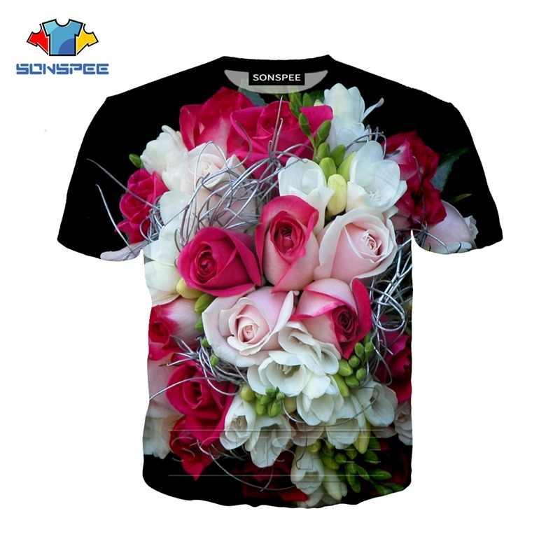 Sonspee Bloem Rose Tulp 3D Print T Shirts Korte Mouw Casual Mode Vintage Bloemen Zonnebloem Mannen Vrouwen Tee top Shirt