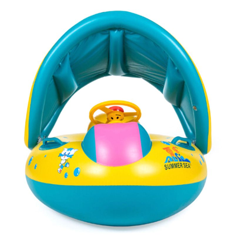 Safety Baby Child Infant Swimming Float Inflatable Adjustable Sunshade Seat Boat Ring Swim Pool Inflatable Toy With OPP Package