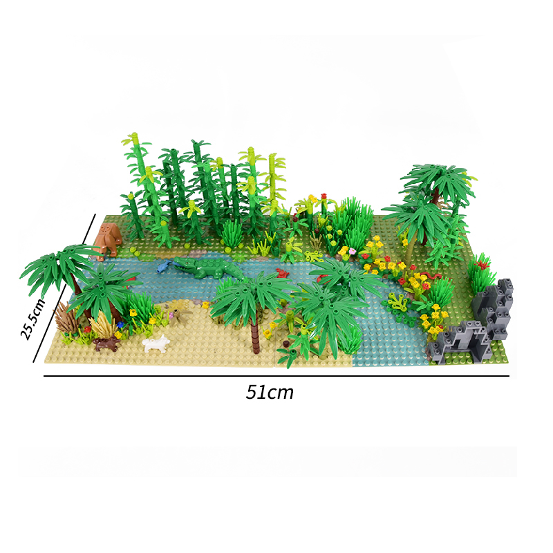 Rainforest Animal Fish Grass Tree Building Blocks Set with Baseplate City MOC Accessories Parts Bricks DIY Kids Toys Gifts (4)