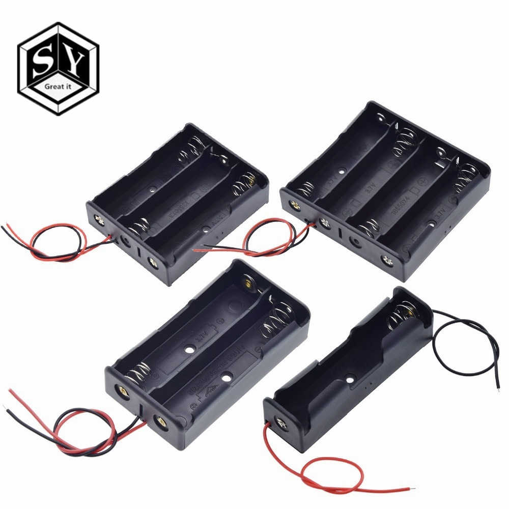 Black Plastic 1x 2x 3x 4x 18650 Battery Storage Box Case 1 2 3 4 Slot Way DIY Batteries Clip Holder Container With Wire Lead Pin