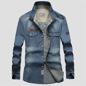 Image 5 - Envmenst Brand Clothing Denim Shirts Men Casual Long Sleeve Tops Fashion Slim Camisa Jeans mMale Blouses 4XL US European Style