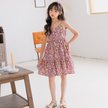 2020 Girls Big Boy Summer New Bohemian Holiday Beach Floral Girl Strap off-Shoulder Dress girls dress teen girls summer dress floral print off shoulder fashion chiffon dress bohemian holiday kids dress for 9 10 11 12 14 16 years