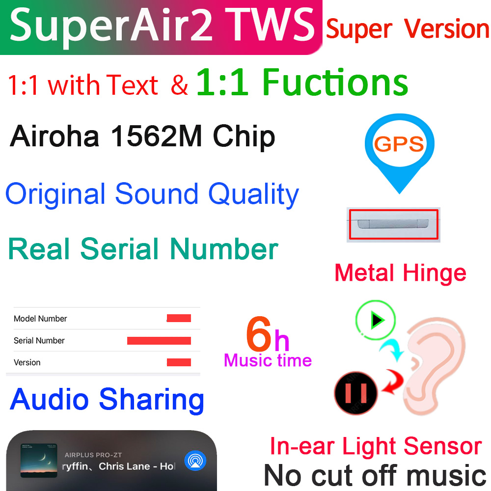 SuperAir2 наушники-вкладыши TWS с Беспроводной наушники 1:1 Air2 с текстом Bluetooth Подсветка для наушников Сенсор и супер бас & 6 сверхпрочное стекло Бат...