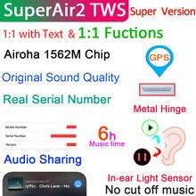 Superair2 tws 1:1 air2 fones de ouvido sem fio com texto bluetooth sensor luz & super bass 6h bateria super pk i90000 max