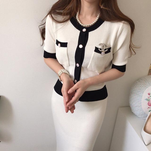 Elegant Knitted 2 Pieces Sets Single Breasted Short Sleeve O-neck Top + High Waist Long Skirt 5
