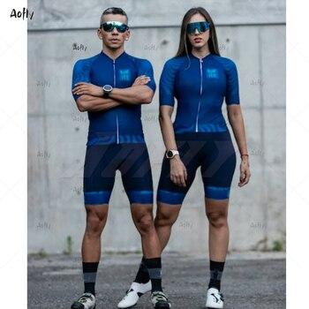 Kafitt azul casal ciclismo conjunto skinsuit triathlon conjunto maillot ropa ciclismo mtb roupas de ciclismo macacão verão 1