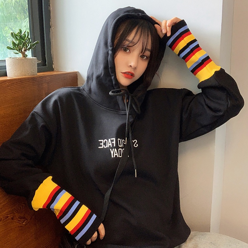 Korean Style Fake Two Pieces Hoodie Streetwear Casual Hooded Long-sleeved BF Gothic Oversized Kpop Pullover Sweatshirt