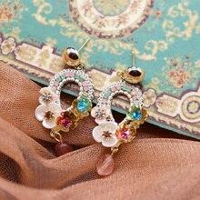 MENGJIQIAO New Handmade Vintage Bohemia Drop Earrings Mujer Moda Statement Elegant Shell Flower Holiday Pendientes  Jewelry