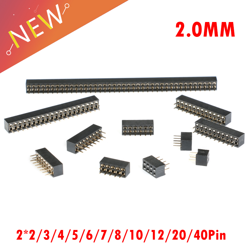 10Pcs/lot 2.0mm Double Row Stright Female Pin Header Strip PCB Connector 2*2/3/4/5/6/7/8/10/12/20/40Pin image