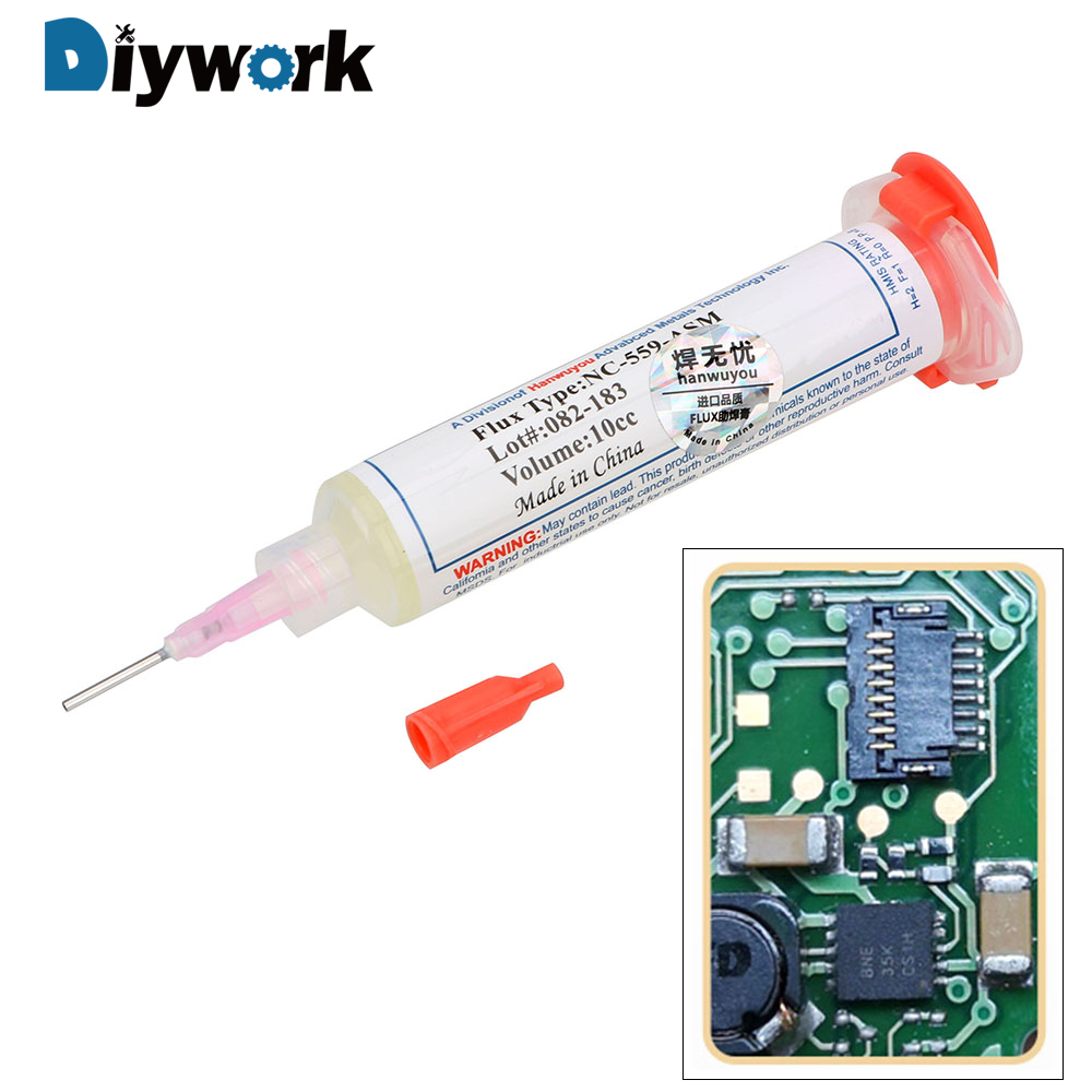 DIYWORK PCB IC Part Welding Welding Advanced Oil Flux Grease No-Clean Solder Paste 10cc NC-559 Soldering Paste NC-559-ASM-UV BGA