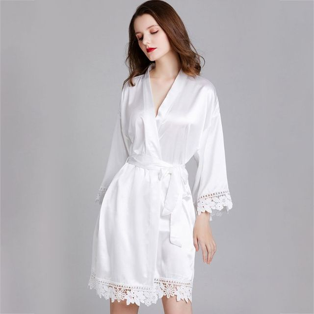 Women's Satin Kimono Style, With Lace Trim Bathrobe