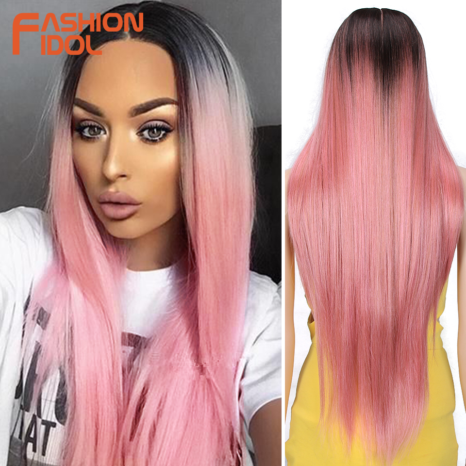 FASHION IDOL 34 Inch Long Straight Wig Middle Part Lace Full Head Ombre 613 Ponytail Wig Cosplay Wigs For Women Synthetic Hair