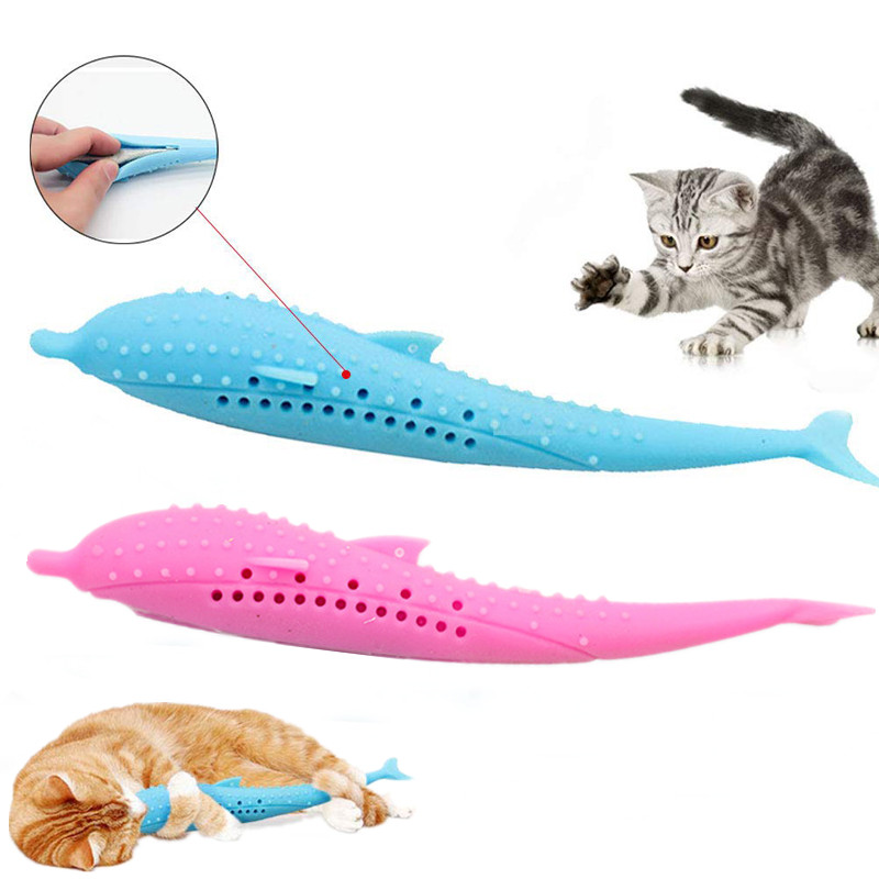 Cat Teeth Grinding Catnip Toys Fish Pet Kitten Chewing Toy Cat Toothbrush Simulation Silicone Molar Stick Teeth Cleaning Toy image