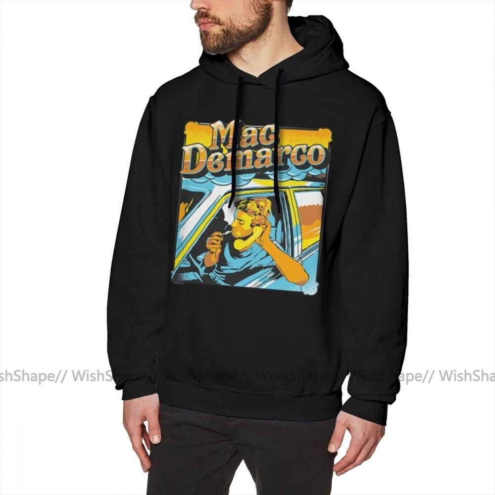Mac Demarco Hoodie Mac Demarco In His Car Hoodies Autumn Cool Pullover Hoodie Grey Cotton Male Long Length XXL Loose Hoodies