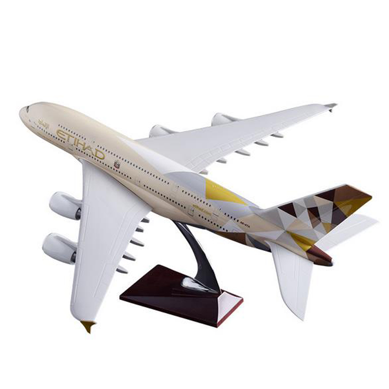 1/160 Airplane Airbus ETIHAD Airline A380 Model Length 45.5CM W With Light Wheel Diecast Plastic Resin Plane For Collection Gift image