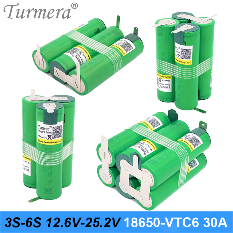 Turmera 3S 12.6V 4S 16.8V 5S 21V 6S 25V Battery Pack US18650VTC6 3000mah Battery 30A for Shurika Screwdriver Battery (Customize) image