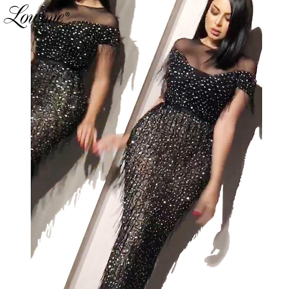 Couture Luxury Rhinestones Beaded Tassel   Evening     Dresses   Long Mermaid   Evening   Gowns Formal Robe De Soiree Black Party   Dress