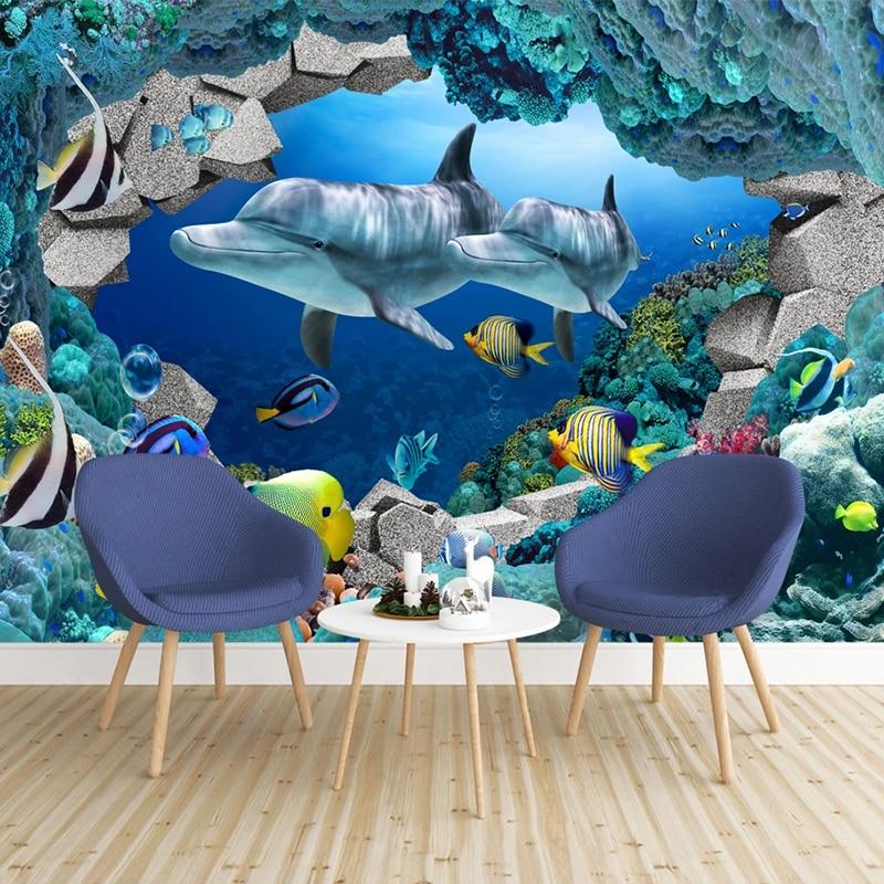 Custom Mural 3D Seascape Underwater World Dolphin Cartoon Picture Photo Wallpaper For Kids Room Bedroom Living Room TV Backdrop