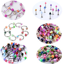 30Pcs/Set Mix Acrylic Stainless Steel Eyebrow Navel Belly Lip Tongue Ring Nose Bar Rings Body Piercing Jewelry Wholesale mix lot wholesales 80pcs stainless steel eyebrow piercing belly button rings naval ear nose rings lip tongue body jewelry gold
