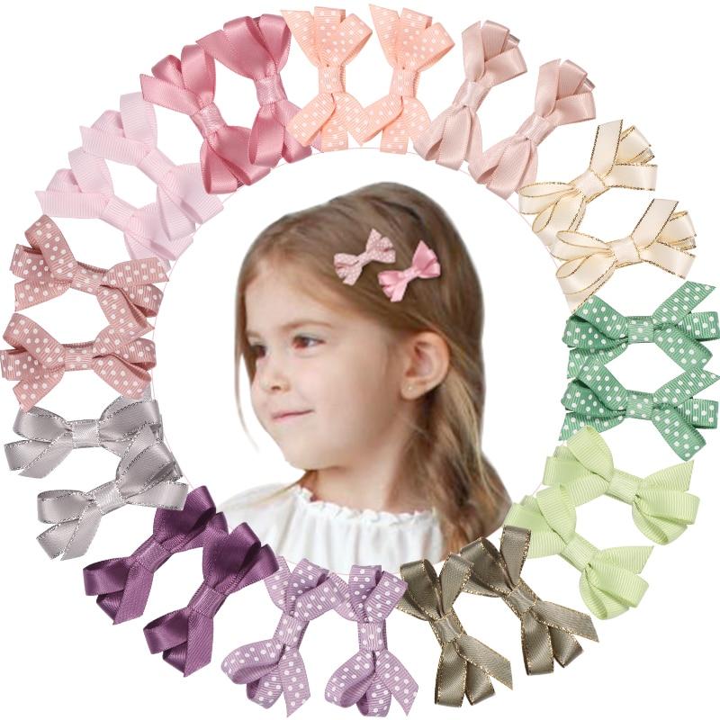 MeryYuer 6pcs/set Solid Grosgrain Ribbon Bows Clips Hairpin Girls hair Bowknot Boutique Hair Clip Headware Kids Hair Accessories