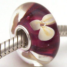 Glass-Beads Jewelry Bracelet Charms Diy Lampwork Sterling-Silver Murano Fit PJG2683 100%S925