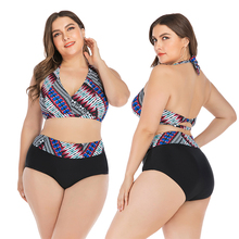 цена на New Sexy Plus Size Swimsuit Stripped Print Bikini Women Backless Swimwear L-4XL Girl High Waist Bathing Suit Halter Bikini Set